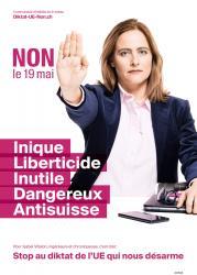 Isabel Villalon. NON le 19 mai, Inique, Liberticide, Inutile, Dangereux, Anti-suisse. Stop au diktat de l'EU qui nous désarme