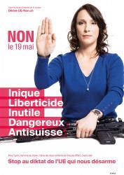 Lynn. NON le 19 mai, Inique, Liberticide, Inutile, Dangereux, Anti-suisse. Stop au diktat de l'EU qui nous désarme