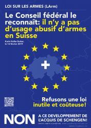 Le Conseil fédéral le reconnaît: il n'y a pas d'usage abusif d'armes en Suisse... NON à ce développement de l'acquis de Schengen !